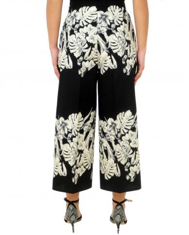 TWINSET Pantalone in popeline con stampa fiore base Nero 201TT2316 05160