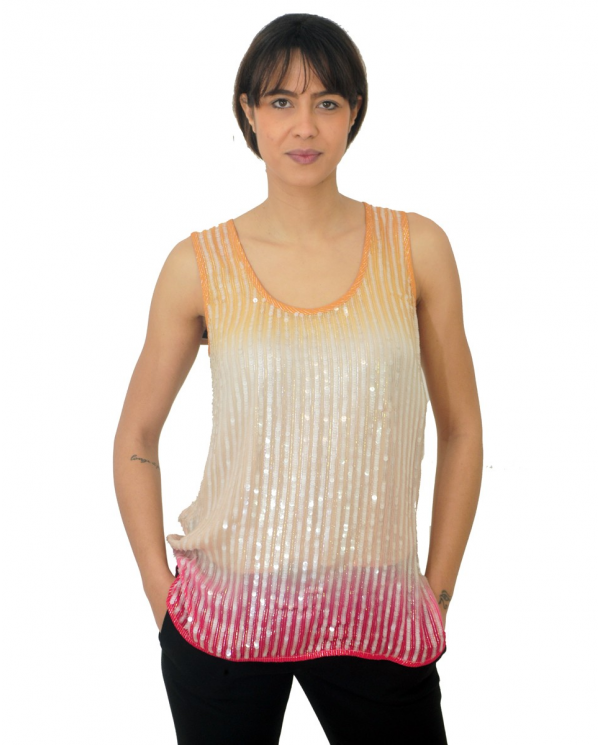 TWINSET Top full pailletes degradè MUL.TIE DYE RAINBOW PINK 201TT2331 05034