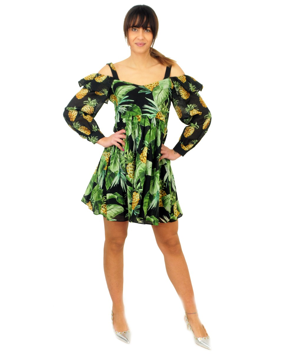TWINSET Abito stampato con spalle cut-out STAMPA SUMMER FRUITS NERO 201TT2462 05119