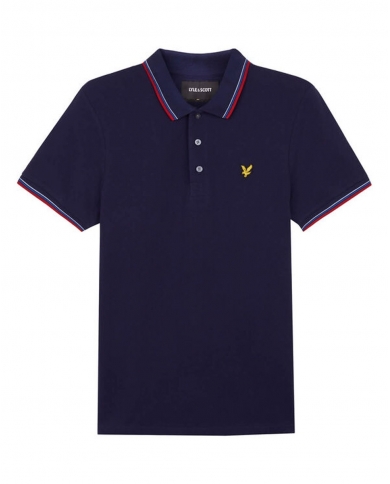 LYLE & SCOTT Seasonal Tipped Polo Shirt Navy/ Gala Red SP800VTR Z857