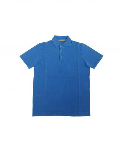 CRUCIANI Polo in piquet manica corta Azzurra CU15.240.3228EF