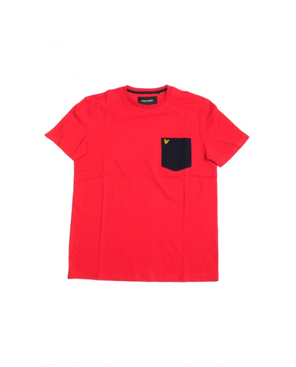 LYLE & SCOTT Contrast Pocket T-shirt Gala Red/ Navy TS831V Z833
