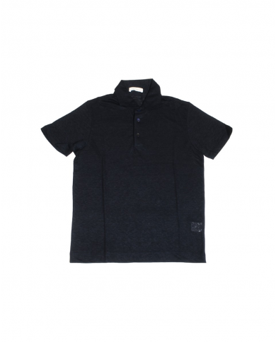 CRUCIANI Polo in lino manica corta Blu CUJLIB.P30.10973
