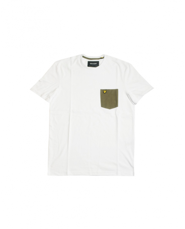 LYLE & SCOTT T-shirt Contrast Pocket White/ Lichen Green TS831V Z828