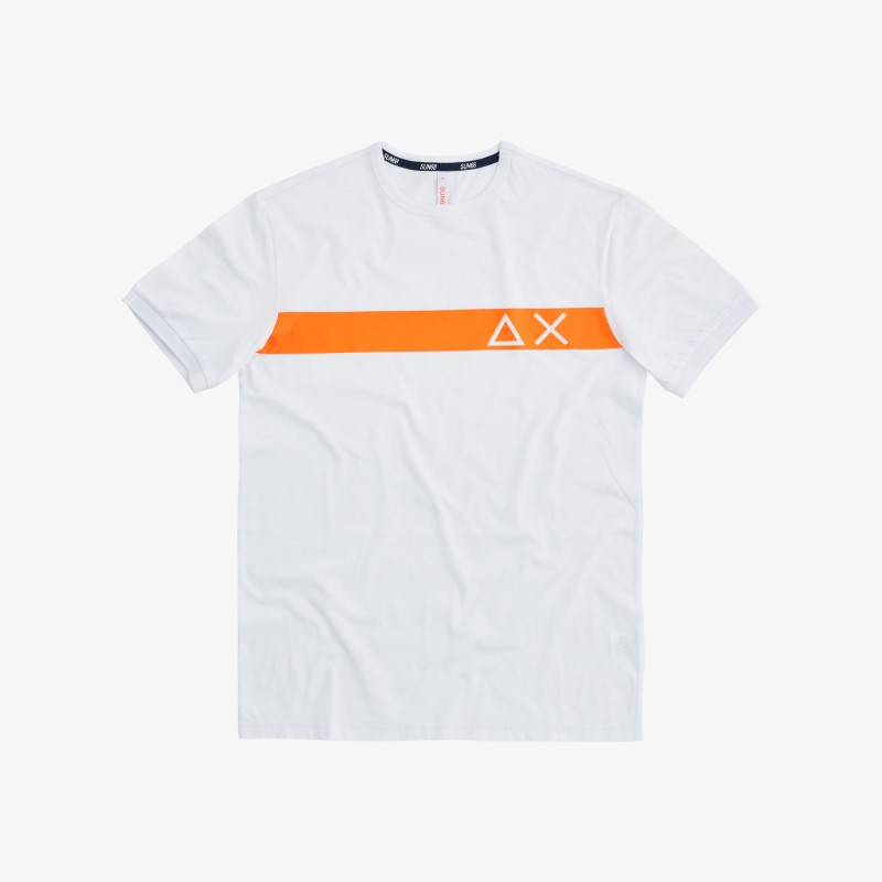 SUN 68 T-shirt round stripe print on chest bianca T30106 1
