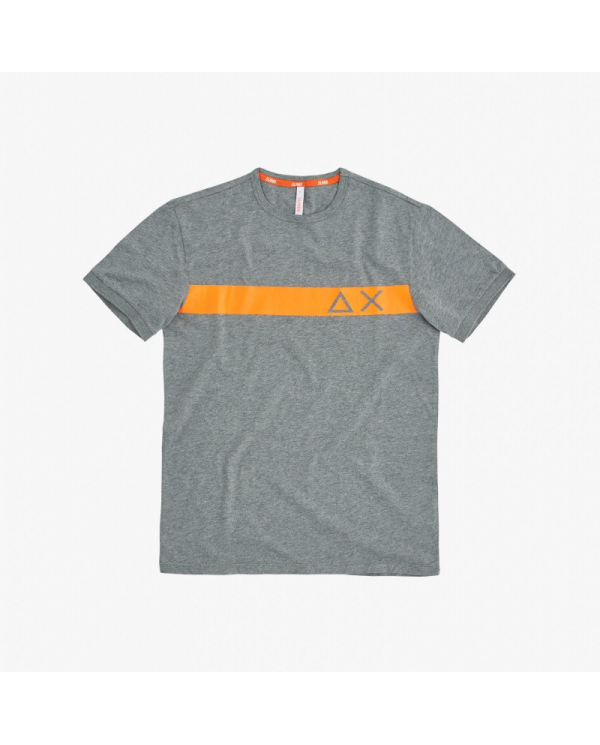 SUN 68 T-shirt round stripe print on chest grigio medio T30106 34