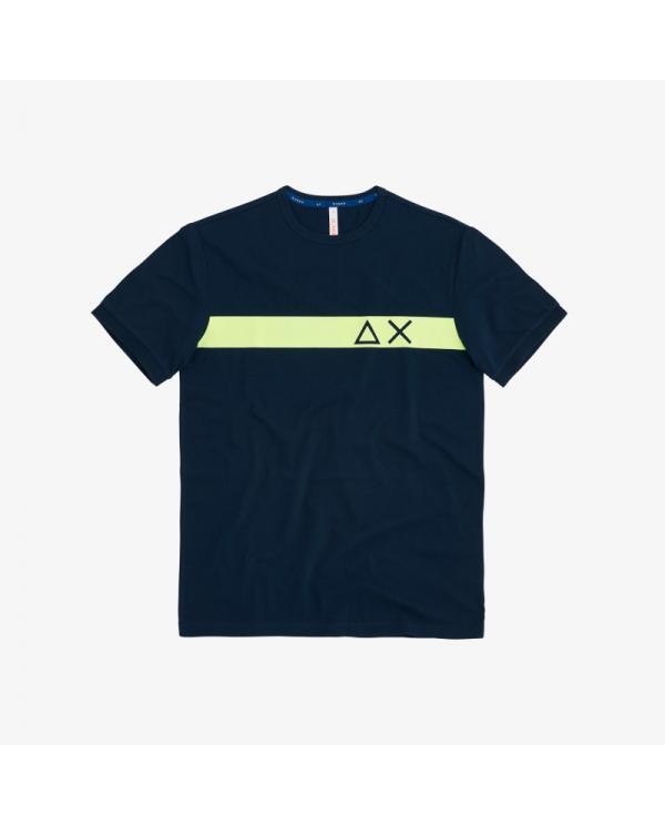 SUN 68 T-shirt round stripe print on chest navy blue T30106 7