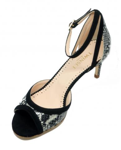 TWINSET Sandalo tacco alto pitonato roccia chiaro e nero 201TCP022 04829