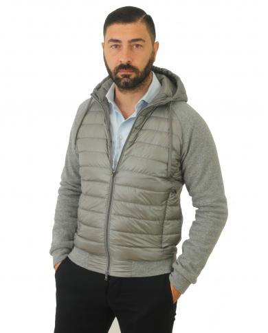 HERNO Giubbotto Piumino nylon e maglia LIGHT GREY PI054UR 12020.9406