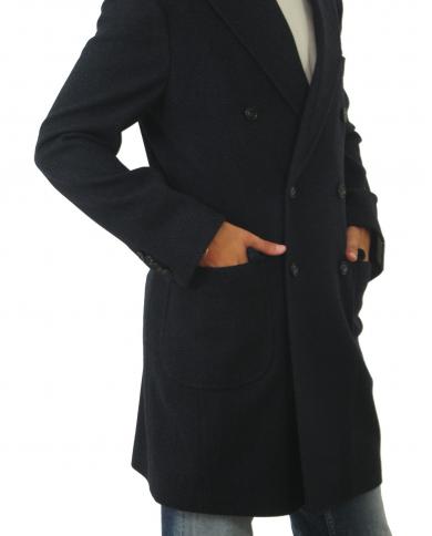 BARBA NAPOLI Cappotto doppiopetto Spigato blu CLANG.1510 1