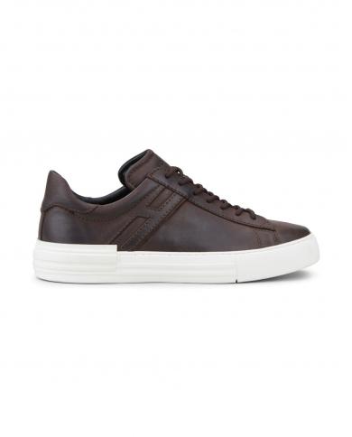 HOGAN Sneakers Rebel in pelle con H allungata TABACCO SCURO HXM5260CW02PX6.S810