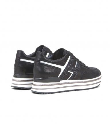 HOGAN Sneakers H468 MIDI PLATFORM in pelle lurex B999(NERO)+B200(ARGENTO) HXW4680CB80OBQ.0353