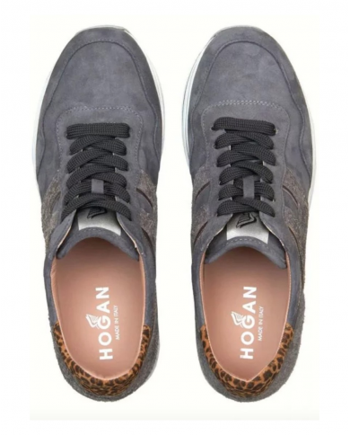 HOGAN Sneakers H483 MIDI PLATFORM in suede B800(CATRAME)+C210(CONCHIGLIA)+C821(SAHARA SC) HXW4830CB80OBK.0PSQ