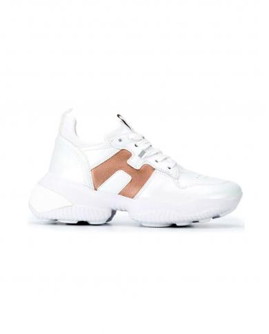 HOGAN Sneaker HOgan Interaction in pelle bianco, salmone chiaro HXW5250CW70OL5.089A