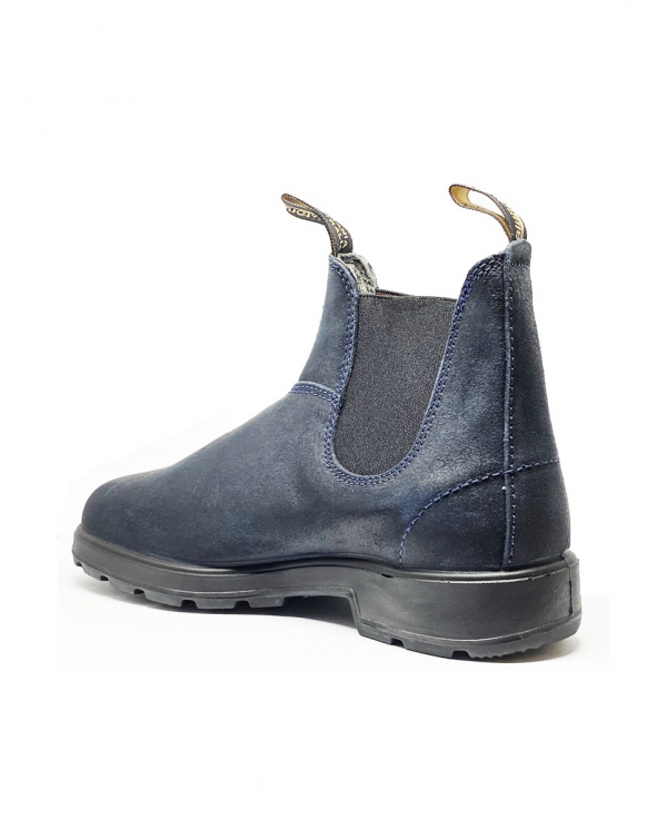 BLUNDSTONE Stivaletto navy waxed suede black elastic 202-BC.1912