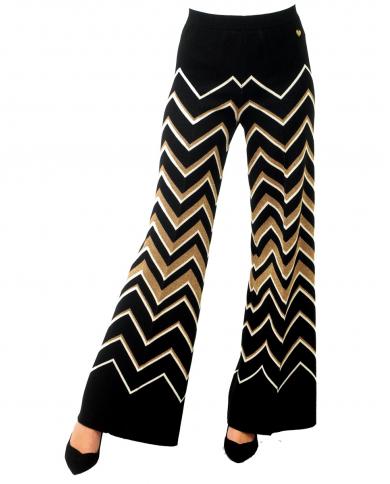 TWINSET Pantalone in maglia fantasia Jacquard Nero/panna 202TT3063.05756
