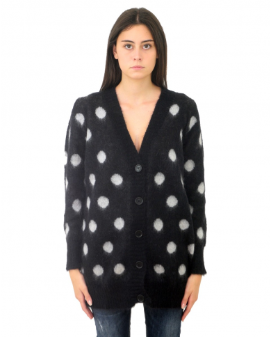 TWINSET Maxi cardigan in mohair a pois Nero/panna 202TT3222.05740