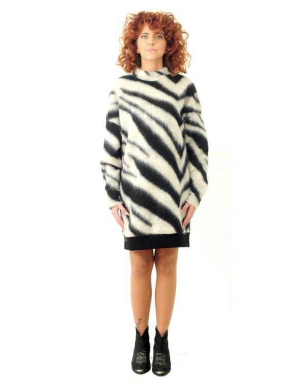 8PM Abito misto lana zebrato Bianco/nero D8PM02A31.128