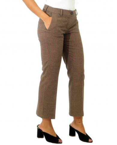 SEMI COUTURE Pantalone Flare pied de poule gessato gessato fuxia Y0WI04.VAR63
