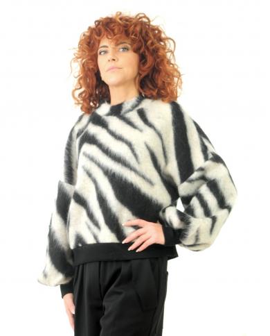 8PM Maglia misto lana zebrata nero bianco D8PM02M33.128