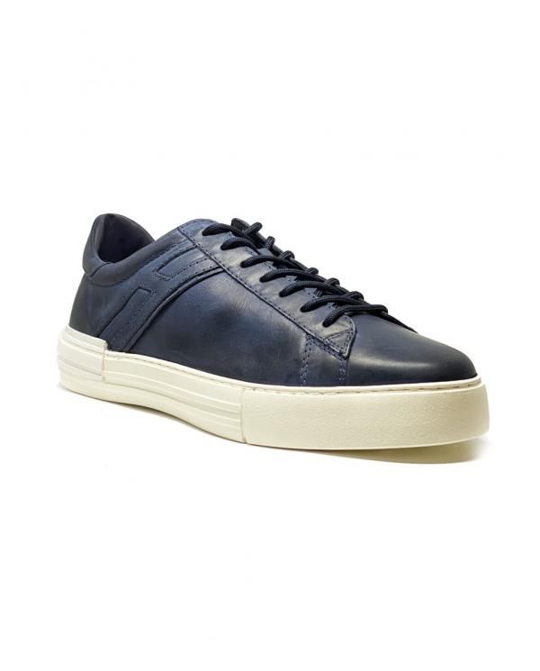 HOGAN Sneakers Rebel in pelle con H allungata blu HXM5260CW02PX6.U820