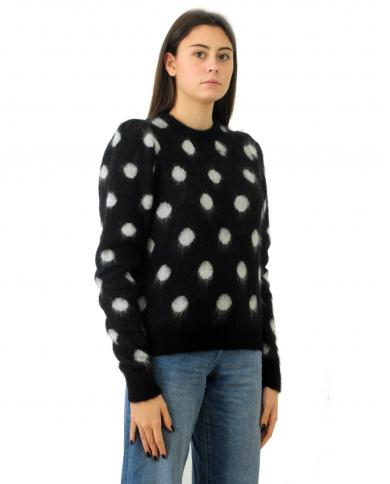 TWINSET maglia girocollo Nero/panna 202TT3221.05740