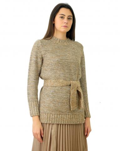 ALPHA STUDIO Maglia girocollo tweed con cintura QUARZO AD-4600C.1170