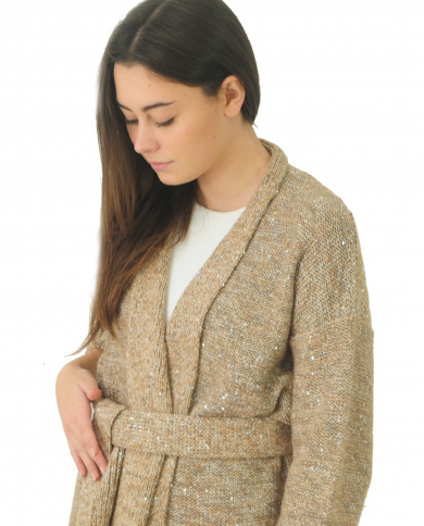 ALPHA STUDIO Cardigan tweed lurex con cintura QUARZO AD-4601E.1170
