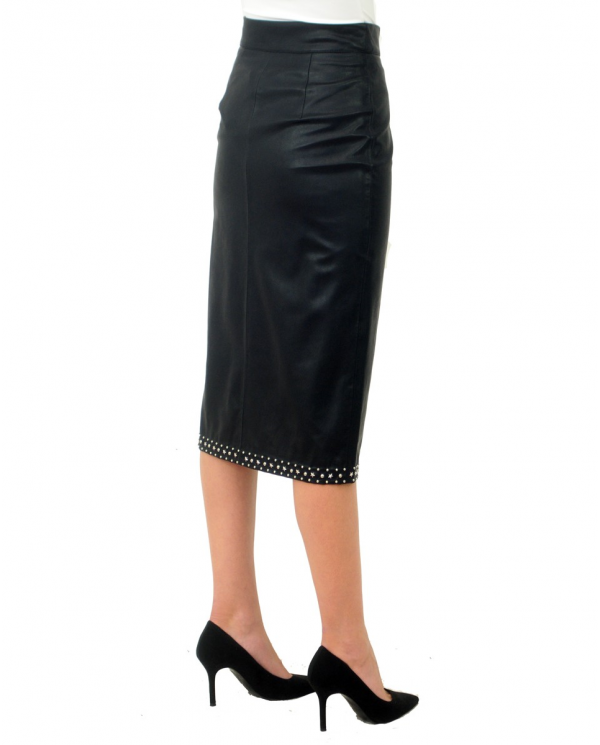 TWINSET Gonna longuette in similpepelle con borchie NERO 202TP2234.00006