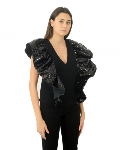 JUCCA Top con ali in paillettes NERO J3212035.003