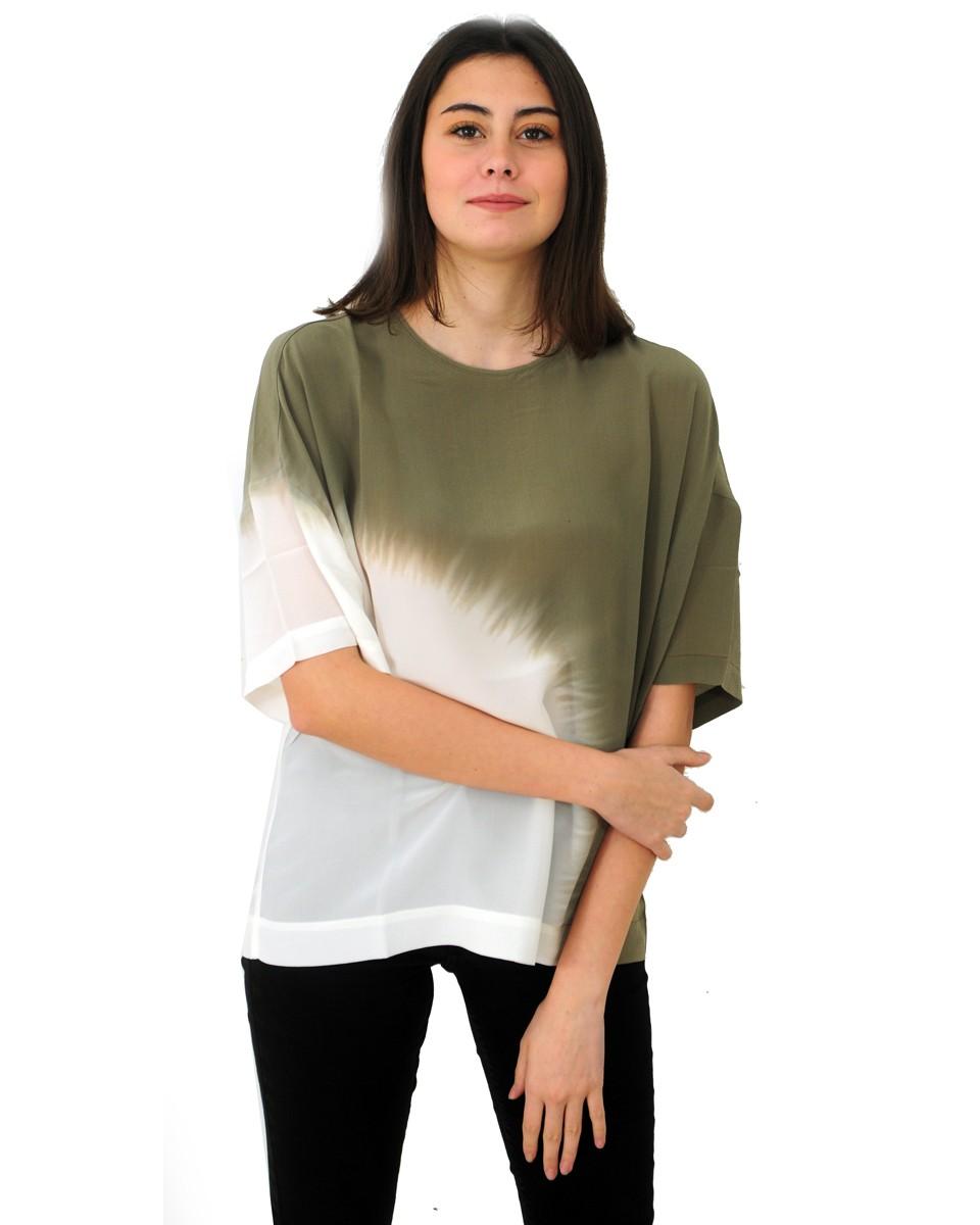 8PM Blusa in seta bicolore verde
