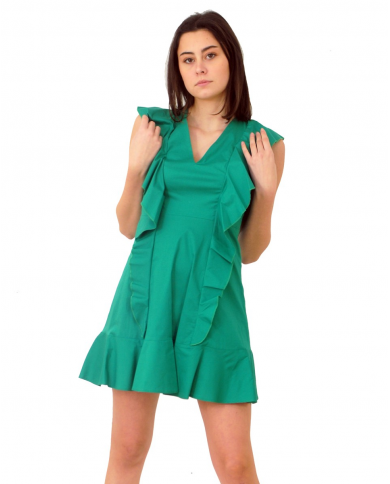 MARIUCCIA Abito con rouches verde SS2036009.VERDE