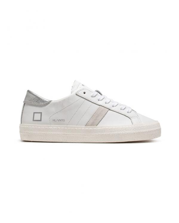 D.A.T.E. Sneakers HILL LOW VINTAGE CALF bianco/argento W321-HL-VC-WS