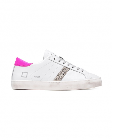 D.A.T.E. Sneakers HILL LOW CALF bianco/fuxia W341-HL-CA-WF