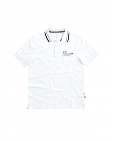 SUN 68 Polo 3 STRIPES ON COLLAR EL Bianco A31114 01