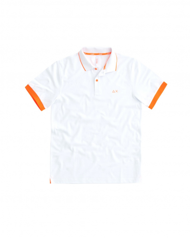 SUN 68 Polo SMALL STRIPES FLUO EL Bianco A31118 01
