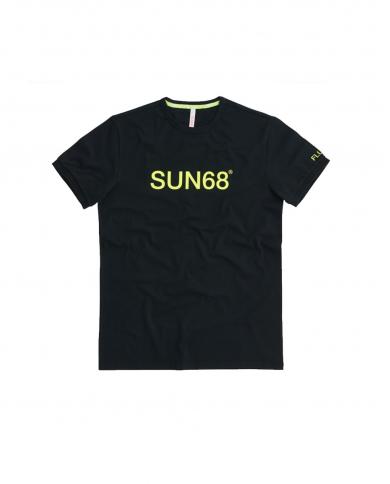 SUN 68 T-shirt round fluo print Nero T31107 11