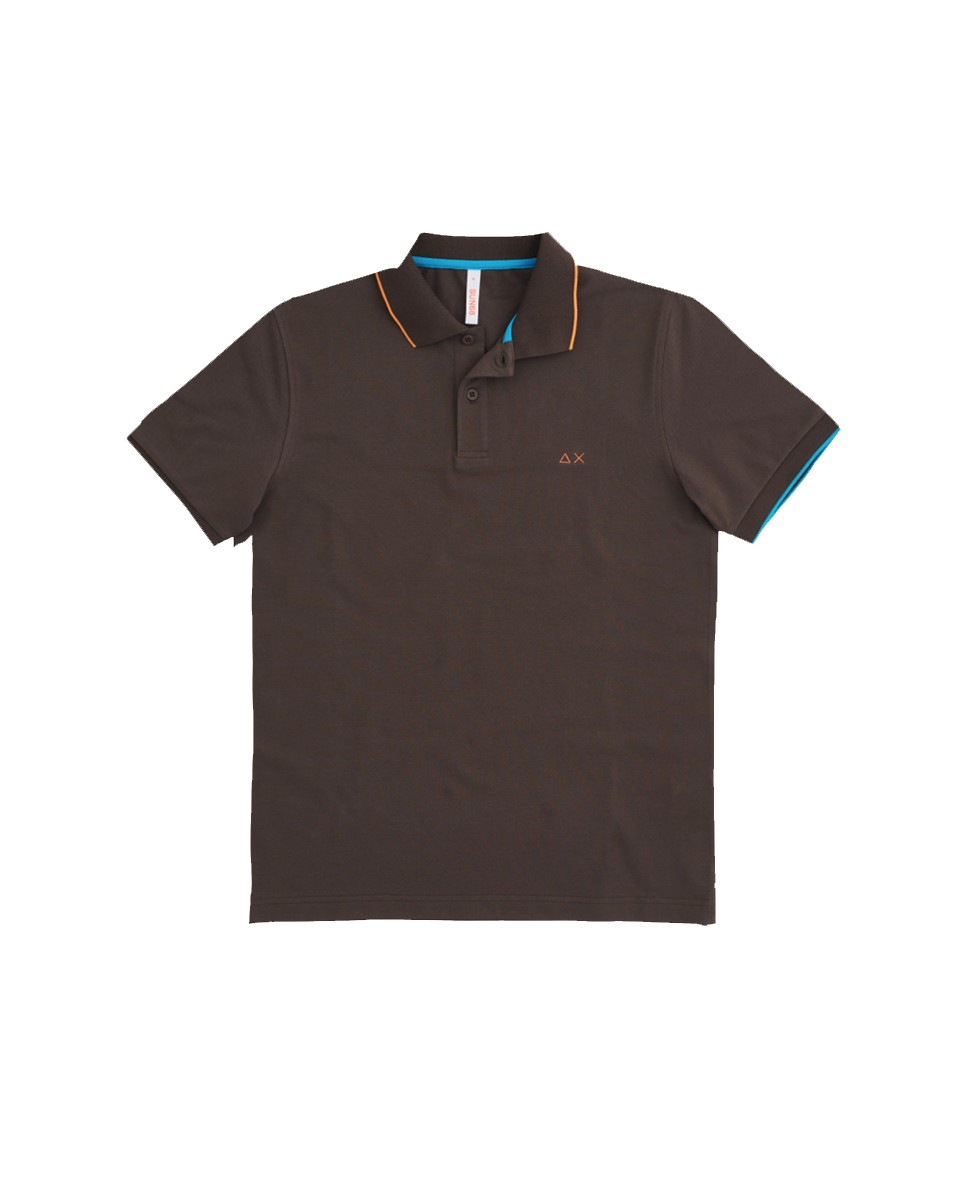 SUN 68 Polo SMALL STRIPES ON COLLAR EL Marrone A31110 08