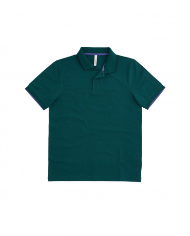 SUN 68 Polo SMALL STRIPES ON COLLAR EL Verde A31110 50