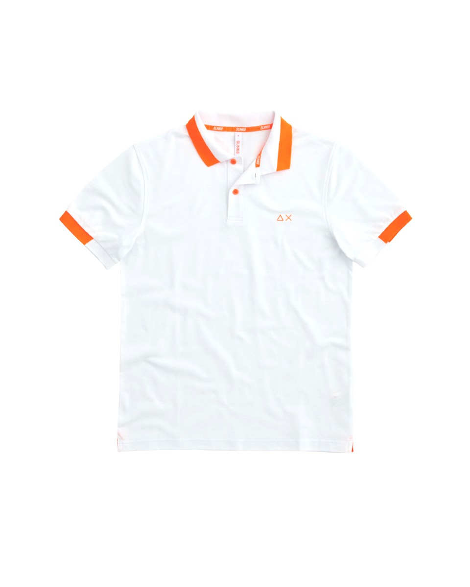 SUN 68 Polo BIG STRIPES FLUO EL Bianco A31119 01
