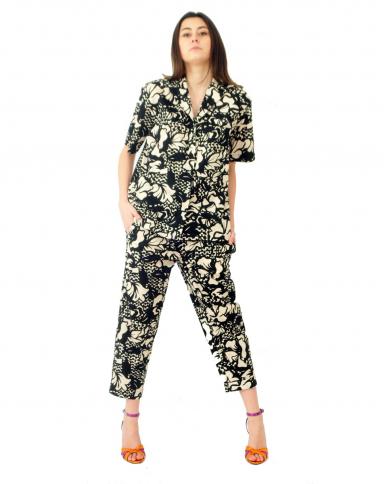 TELA Camicia stampa magnolia Panna/nero 020018 010168.Y002