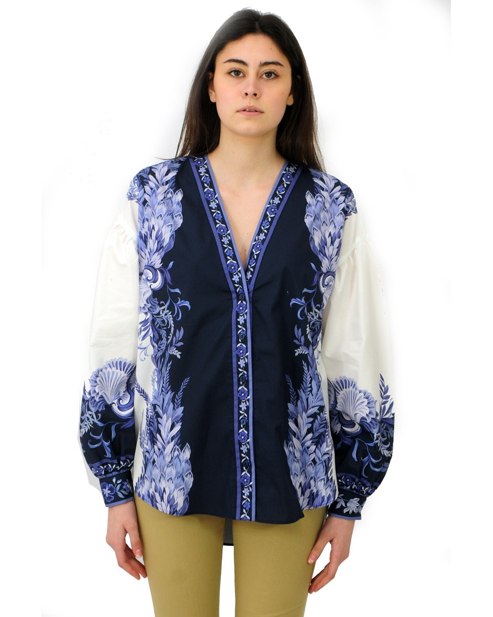TWINSET Camicia in popeline con stampa PATCH PORCELAIN BLUE AND WHITE