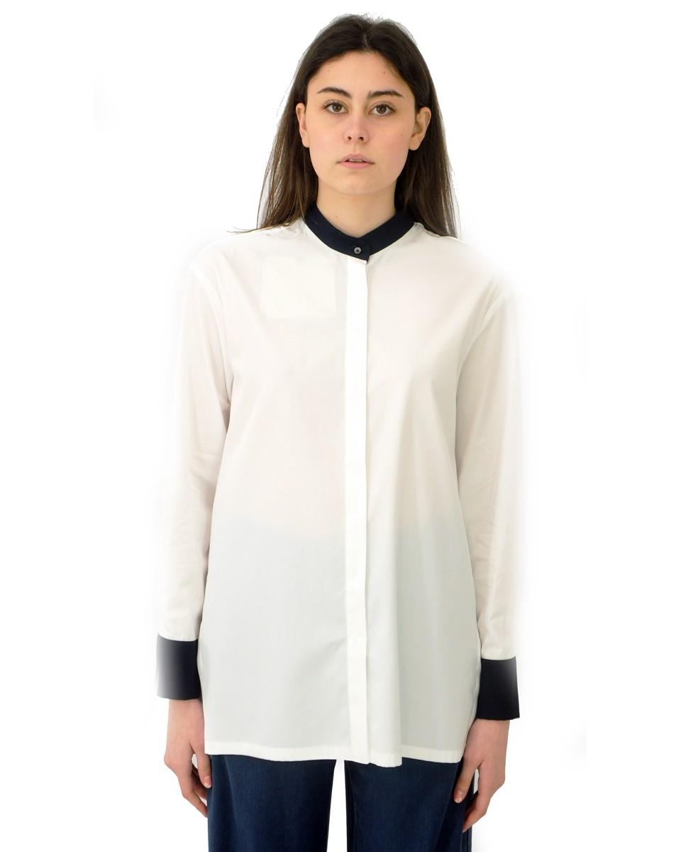 'S MAX MARA Camicia MIRAGE in popeline di cotone bianca