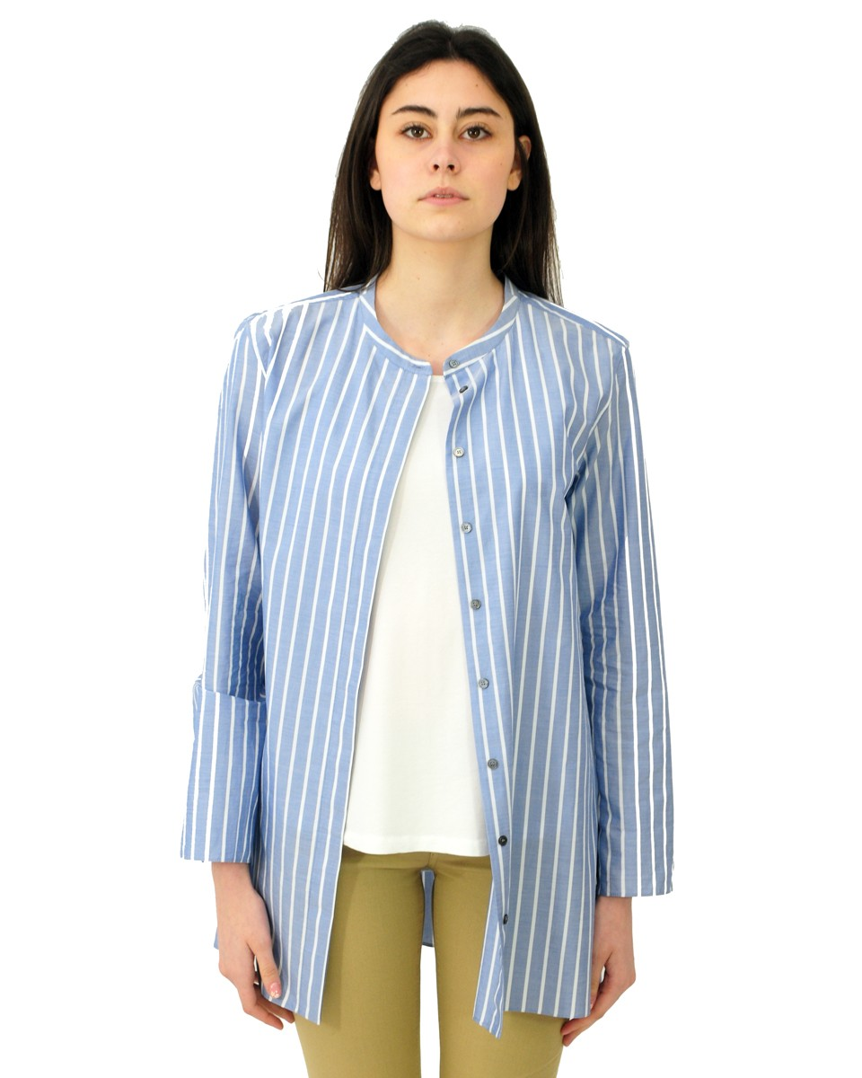 'S MAX MARA Camicia ADDI in popeline di cotone Bianco/celeste