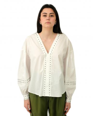 TWINSET Blusa in popeline con borchie BIANCO OTTICO 211TT2482.00001