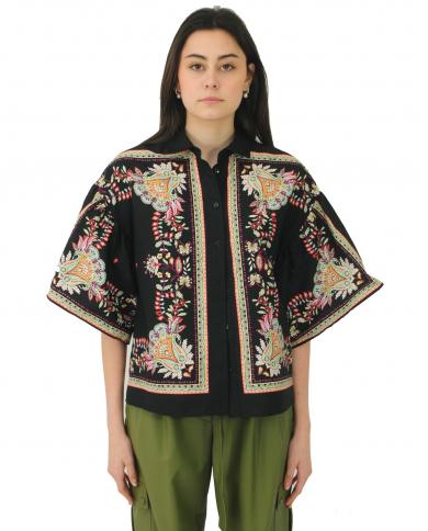 TWINSET Camicia in popeline con stampa foulard FIORE INDIANO NERO 211TT2573.06086