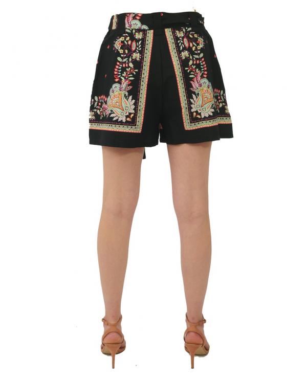 TWINSET Shorts in popeline con stampa foulard FIORE INDIANO NERO 211TT2575.06086