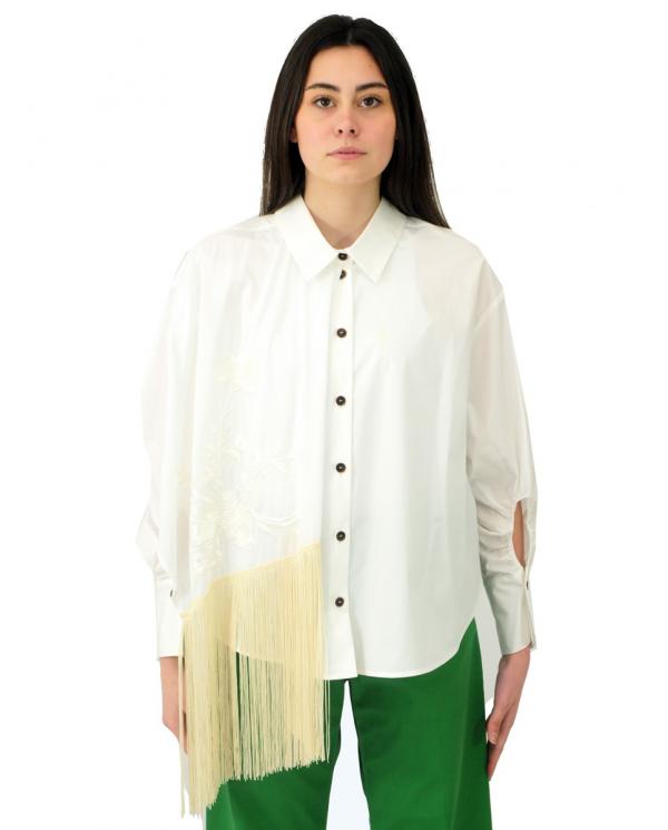 ERIKA CAVALLINI Camicia Ginevra con frange bianco P1SJ19.A01-0