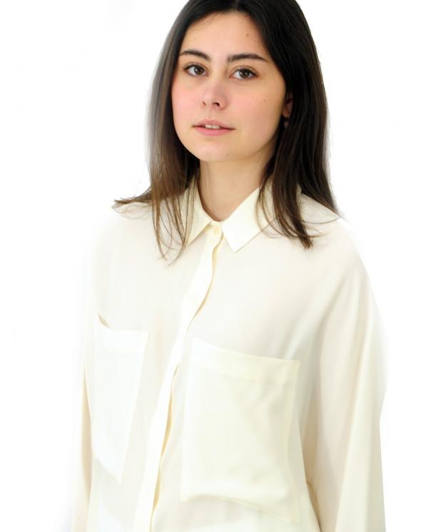 SEMI COUTURE Camicia in crepe de chine Bianco Seta Y1SU04.A10-0