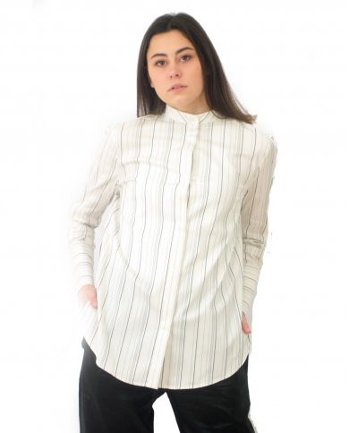 TELA Camicia BARONE bianca rigata blu 020013 010148.Y001